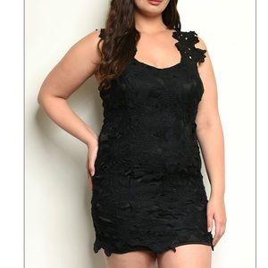 Black PLUS sz all lace mini mini dress